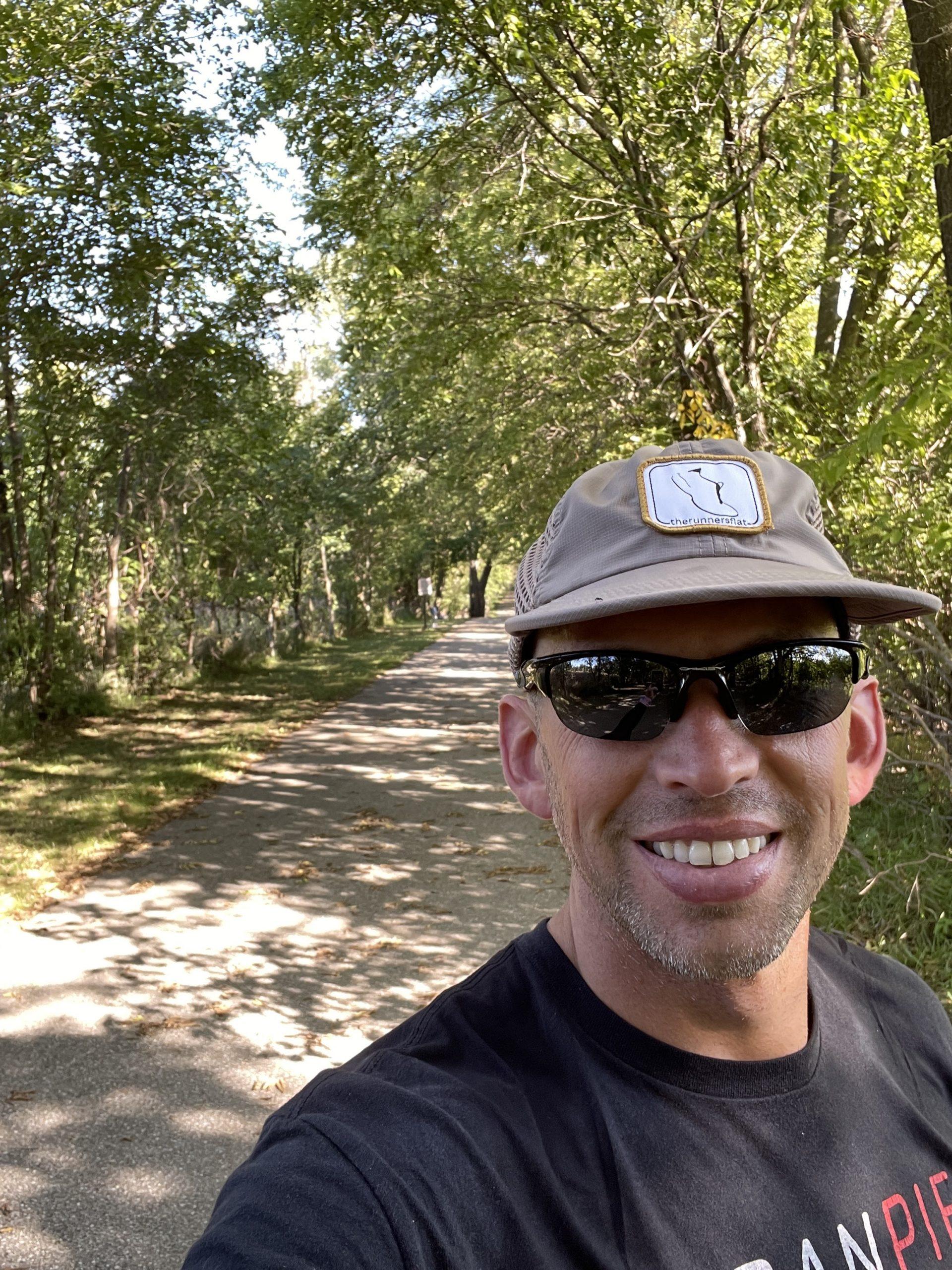 Derek Hamil takes a selfie while training in the Cedar Valley.